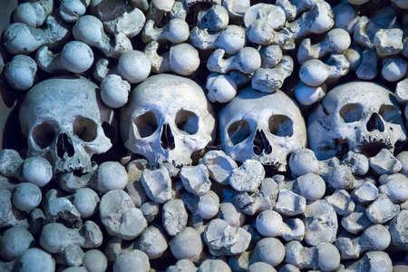 Human skulls and bones in Sedlec Ossuary, Kutna Hora, Czech Republic