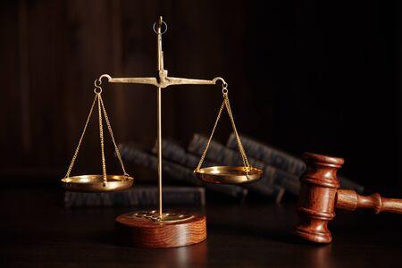 Photo pour Law concept. Judges gavel in courtroom library - image libre de droit