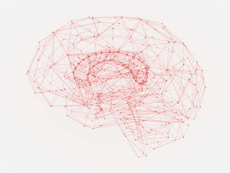 Photo pour 3d Illustration of a human brain consisting of lines and polygon shapes - image libre de droit