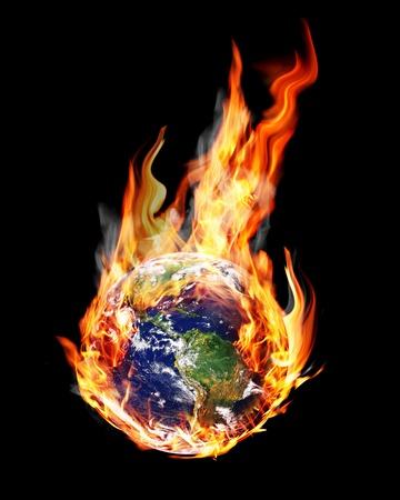 globe in the fire and smoke
