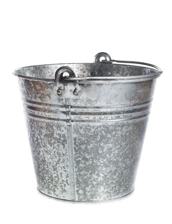 galvanized metal bucket on a white background
