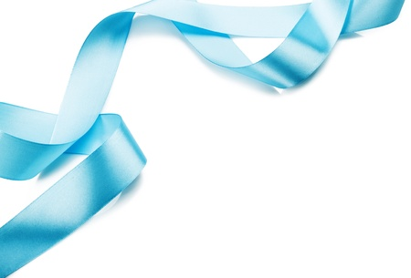 Beautiful blue gift ribbon on a white background
