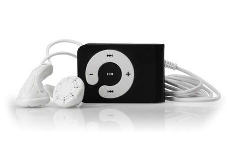 Modern MP3 player on a white background. Close up.