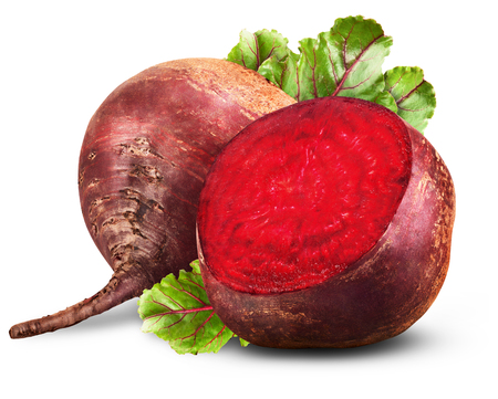 Fresh beetroot with leaves isolated on white background