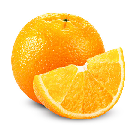 Orange fruits with slices isolated on white background. Clipping Path
