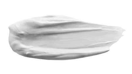 Stroke of White Beauty Cream Isolated on White Background. Clipping Path
