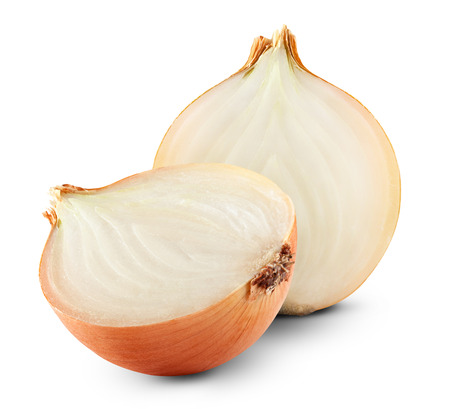 Fresh ripe onion on a white background