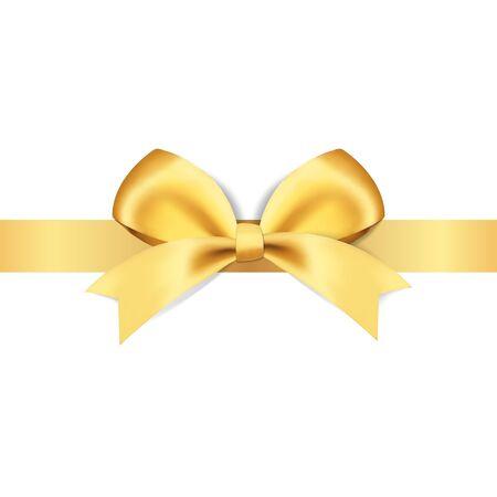 Illustration pour Decorative golden bows with yellow ribbon vector illustration - image libre de droit