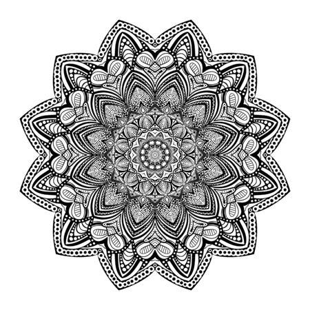 Illustration pour Pattern with mandala decoration. For fabric, textile, bandana, carpet print - image libre de droit