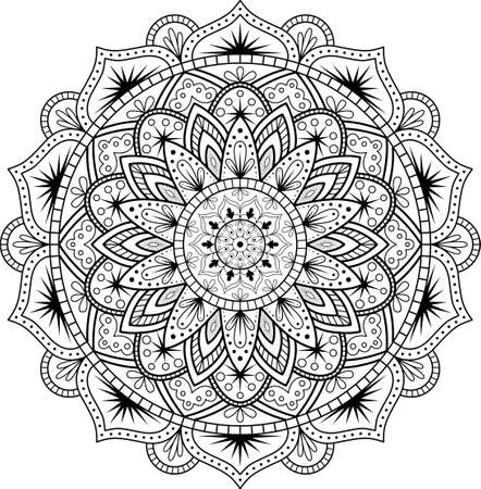 Illustration pour Decorative ornament in ethnic oriental style. Circular pattern in form of mandala for Henna, Mehndi, tattoo, decoration. - image libre de droit