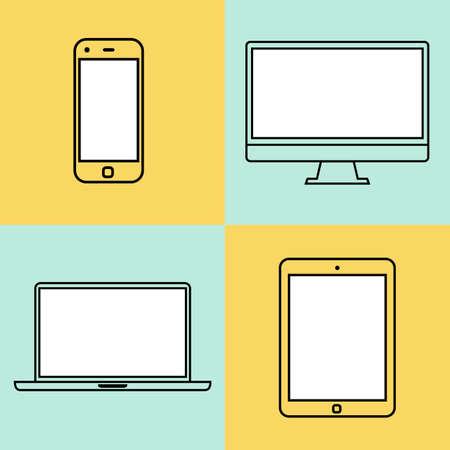 laptop, tablet computer, monitor and smartphone flat design template elements for web and mobile applications. vector illustration eps10