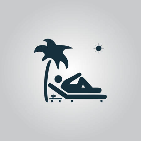 Man relaxing on a deck chair under palm tree and standing table with a cup of coffee. Flat web icon, sign or button isolated on grey background. Collection modern trend concept design style vector illustration symbol