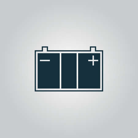 Car battery. Flat web icon or sign isolated on grey background. Collection modern trend concept design style vector illustration symbol