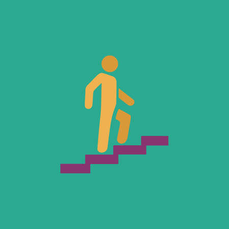 Man on Stairs going up. Colorful vector icon. Simple retro color modern illustration pictogram.