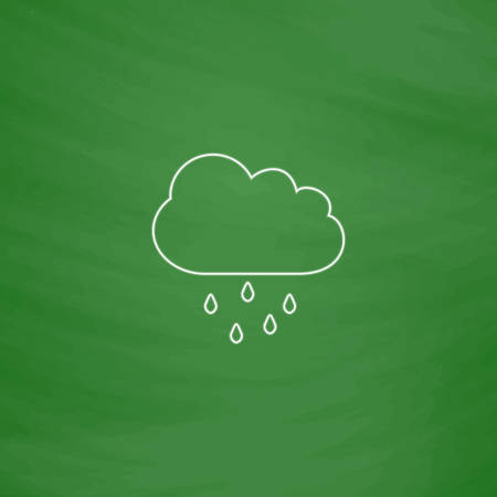 Rain Cloud Outline vector icon  Imitation draw with white
