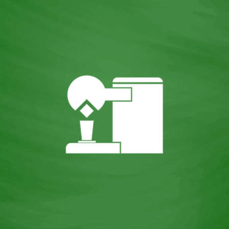 Coffee maker. Flat Icon. Imitation draw with white chalk on green chalkboard. Flat Pictogram and School board background. Vector illustration symbol