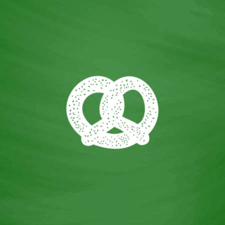 Pretzel. Flat Icon. Imitation draw with white chalk on green chalkboard. Flat Pictogram and School board background. Vector illustration symbol