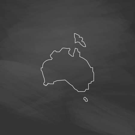 Australia Simple line vector button. Imitation draw with white chalk on blackboard. Flat Pictogram and School board background. Outine illustration icon