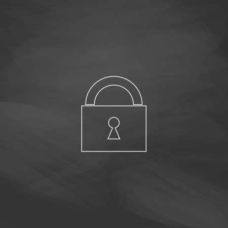 Padlock Simple line vector button. Imitation draw with white chalk on blackboard. Flat Pictogram and School board background. Outine illustration icon