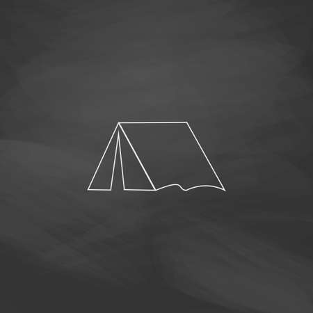 tent Simple line vector button. Imitation draw with white chalk on blackboard. Flat Pictogram and School board background. Outine illustration icon