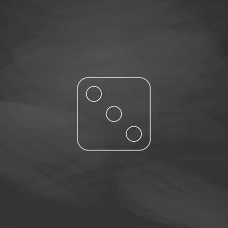 dice 3 Simple line vector button. Imitation draw with white chalk on blackboard. Flat Pictogram and School board background. Outine illustration icon