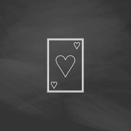 Hearts card Simple line vector button. Imitation draw with white chalk on blackboard. Flat Pictogram and School board background. Outine illustration icon