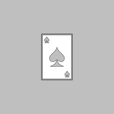 Spades card Simple line vector button. Thin line illustration icon. White outline symbol on grey background