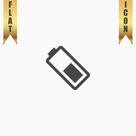 Battery. Flat Icon. Vector illustration grey symbol on white background with gold ribbon