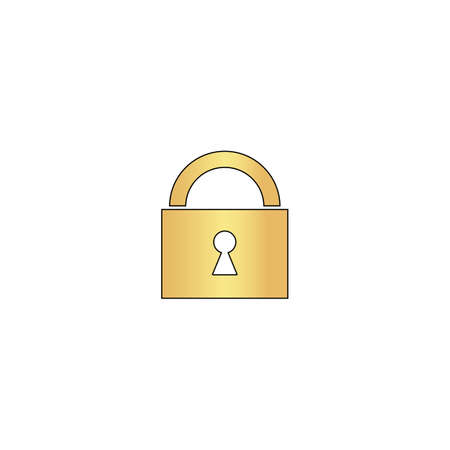 Padlock Gold vector icon with black contour line. Flat computer symbol