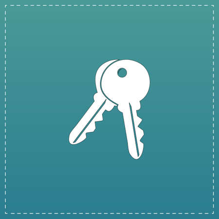 Keys - Unlock tool. White flat icon with black stroke on blue background