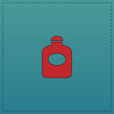 perfume Red vector icon with black contour line. Flat computer symbol on blue background