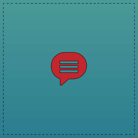 Speech bubble Red vector icon with black contour line. Flat computer symbol on blue background