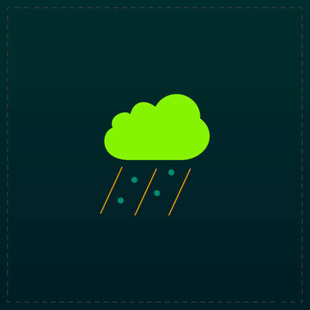 Cloud it is raining and hail. Color symbol icon on black background. Vector illustrationのイラスト素材
