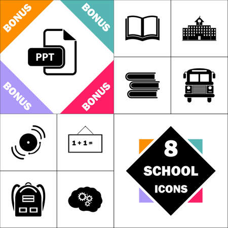 PPT Icon and Set Perfect Back to School pictogram. Contains such Icons as Schoolbook, School  Building, School Bus, Textbooks, Bell, Blackboard, Student Backpack, Brain Learn