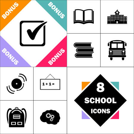 Checklist Icon and Set Perfect Back to School pictogram. Contains such Icons as Schoolbook, School  Building, School Bus, Textbooks, Bell, Blackboard, Student Backpack, Brain Learn