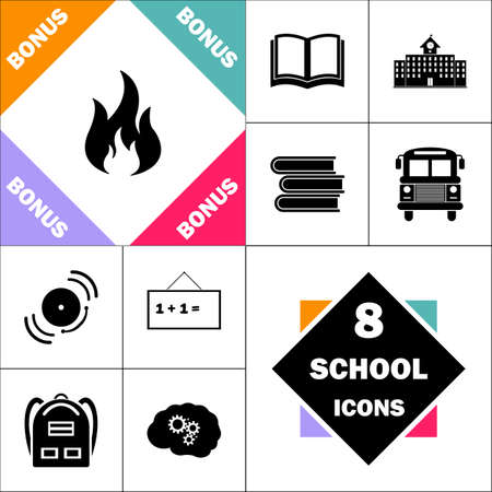 Fire Icon and Set Perfect Back to School pictogram. Contains such Icons as Schoolbook, School  Building, School Bus, Textbooks, Bell, Blackboard, Student Backpack, Brain Learn