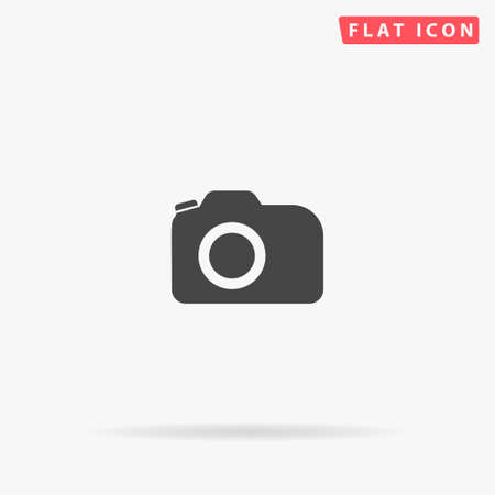 Illustration for Photo Camera flat vector icon. Glyph style sign. Simple hand drawn illustrations symbol for concept infographics, designs projects, UI and UX, website or mobile application. - Royalty Free Image