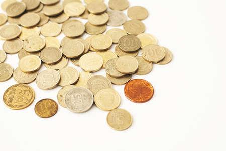Photo pour Mixed coin stacks on a white background - image libre de droit