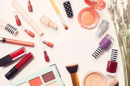 Photo pour Different luxury makeup products on white background, top view - image libre de droit