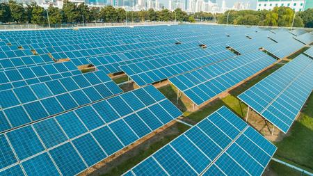 Photo pour Aerial view of solar energy panels on sunny day, solar panels, Solar power plants. - image libre de droit