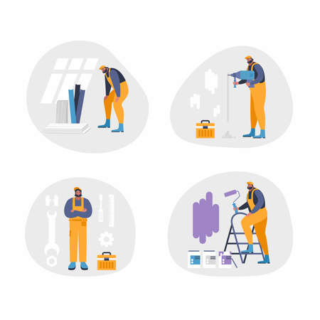 Illustration for Home repair interior or remodeling vector illustration. Repair man doing renovation at home flat style concept. Work process at room. Special tools and equipment for wall painting, drilling, repair - Royalty Free Image