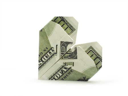 Money Origami Heart - Made with $20 Bill | Money origami heart ... | 338x450