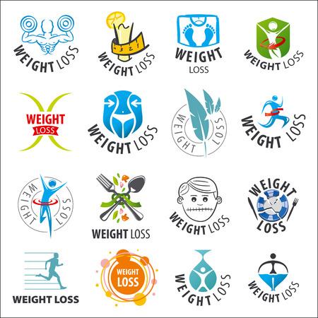 large set of vector logos weight loss