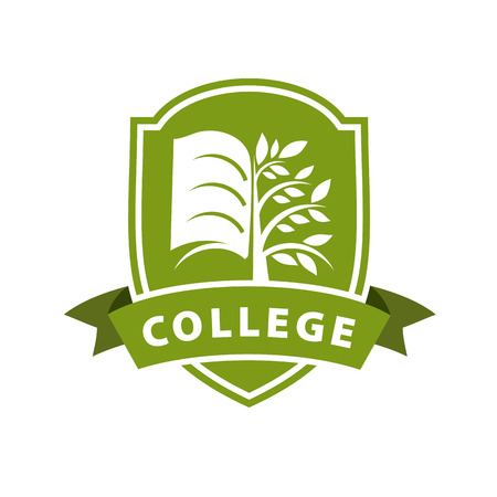 Illustration pour vector logo tree and the book for college - image libre de droit