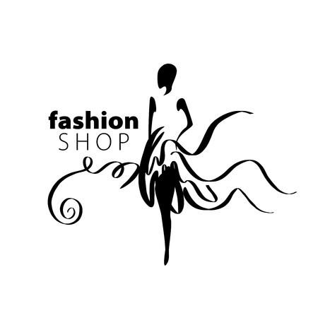 Illustration for vector logo for womens fashion. Illustration of girl - Royalty Free Image