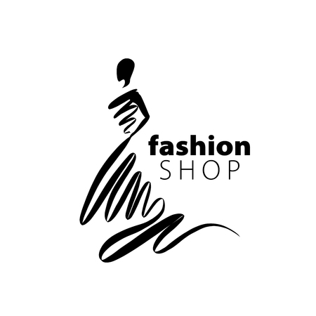 Ilustración de vector logo for womens fashion. Illustration of girl - Imagen libre de derechos