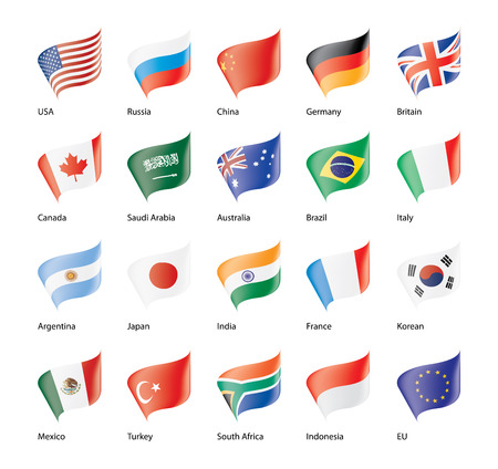 Illustration pour set of flags of the G20 Vector illustration. - image libre de droit