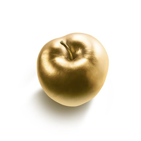 Gold apple isolated on white background.の写真素材