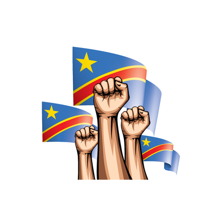 Democratic Republic of the Congo flag and hand on white background. Vector illustration.