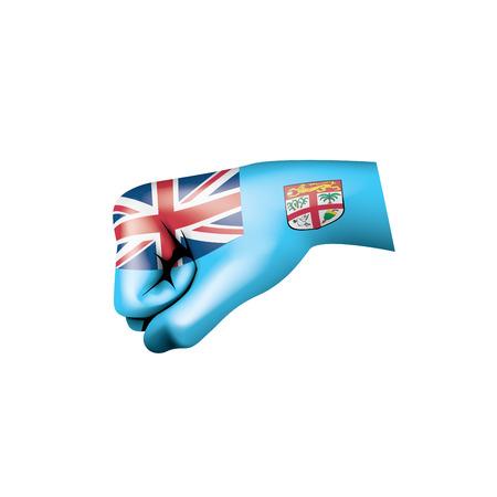 Illustration pour Fiji flag and hand on white background. Vector illustration. - image libre de droit